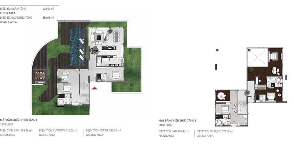 Layout thiết kế căn hộ Pool Villa Đảo Kim cương