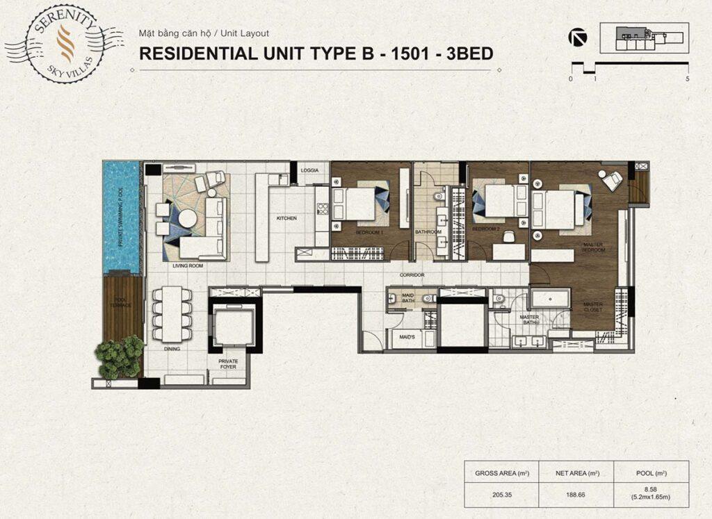 Layout thiết kế căn hộ 3Pn Serenity Sky Villas